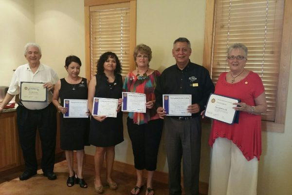 "Recipients of the Distinguished Service Citation and President's Honor Roll for ""Service to our Club and Community"", including Southwest Gulf Railroad Company's Cynthia Prieto (pictured second from left)."